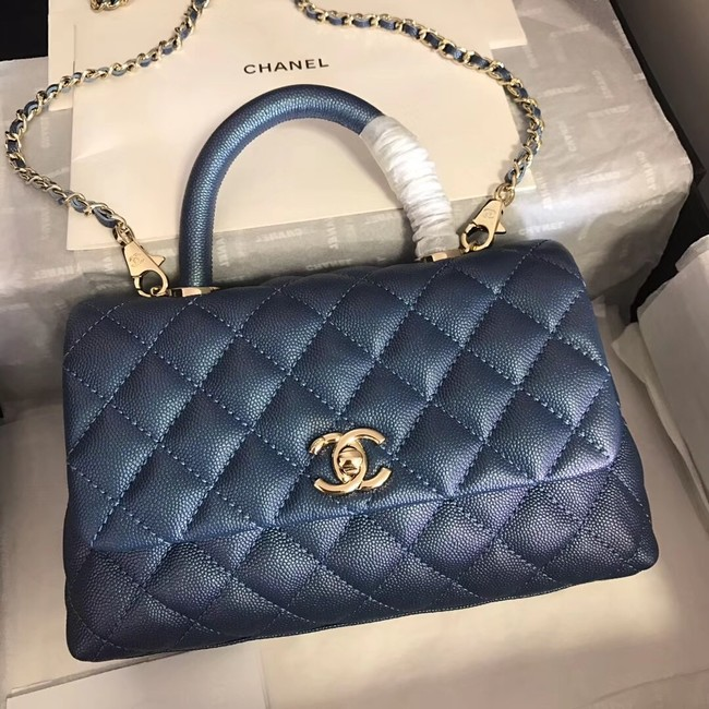 Chanel original Caviar leather flap bag top handle A92290 blue &gold-Tone Metal