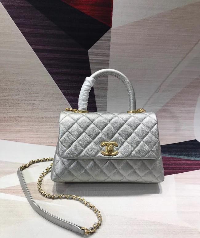 e74d2f609229aa Chanel original Caviar leather flap bag top handle A92290 silvery  &gold-Tone Metal