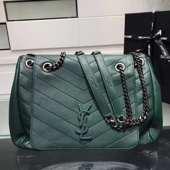 SAINT LAURENT Medium Nolita leather shoulder bag 61877 green