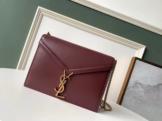 SAINT LAURENT Cassandra leather shoulder bag 532750 Burgundy