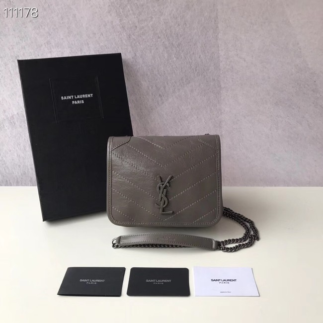 SAINT LAURENT Niki Mini leather shoulder bag 03743 grey