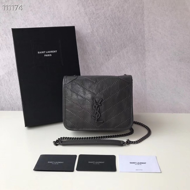 SAINT LAURENT Niki Mini leather shoulder bag 03743 dark grey