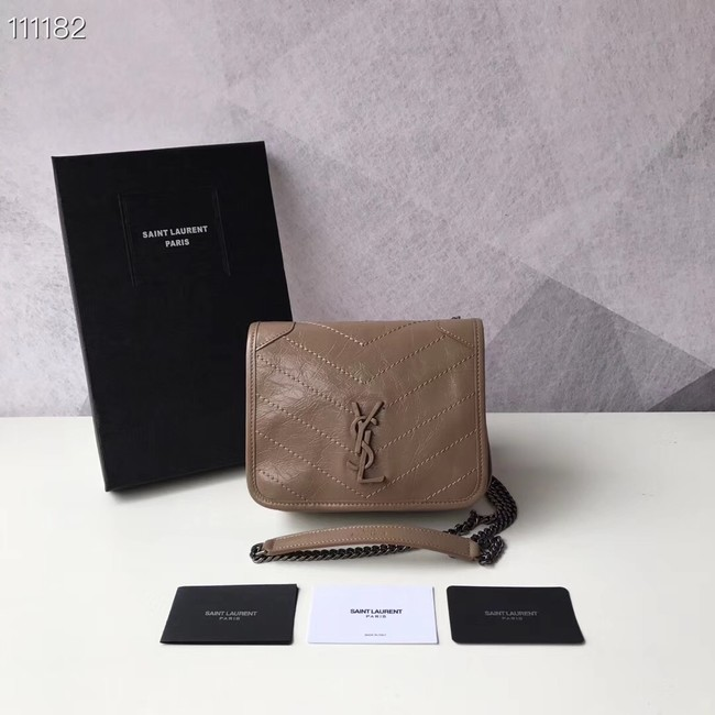 SAINT LAURENT Niki Mini leather shoulder bag 03743 Chestnut