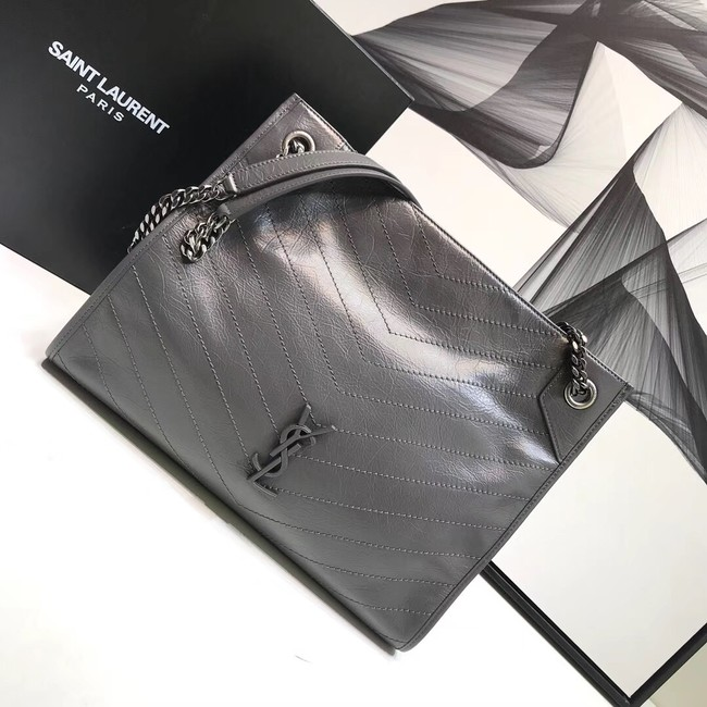 SAINT LAURENT Niki Medium leather shoulder bag 5814 grey