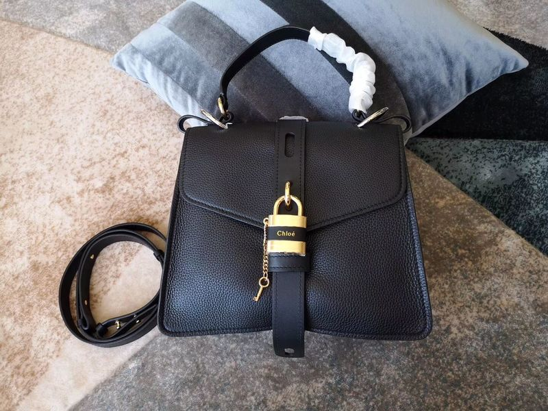 Chloe Original Buckskin Leather Lock Bag 3S088 Black