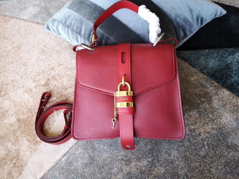 Chloe Original Buckskin Leather Lock Bag 3S088 Red