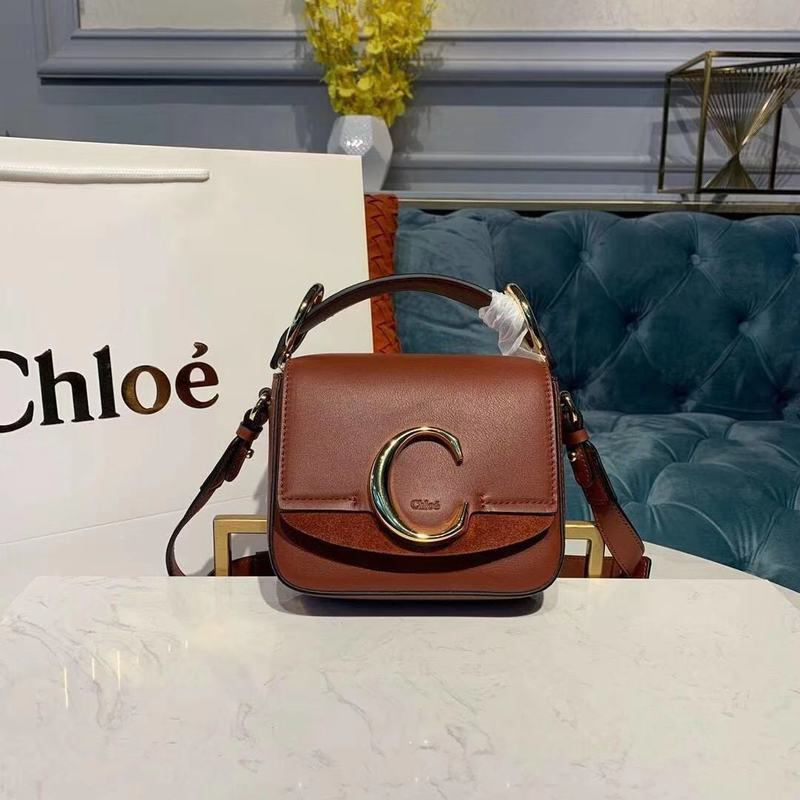 Chloe Original Calfskin Leather Top Handle Small Bag 3S030 Brown