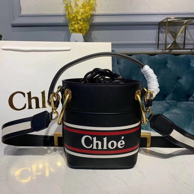Chloe Roy Mini Smooth Leather Bucket Bag 3S508 Black