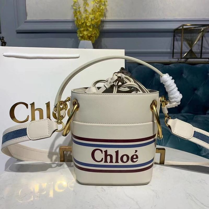 Chloe Roy Mini Smooth Leather Bucket Bag 3S508 White