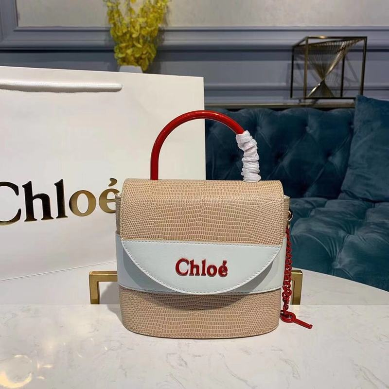 Chloe Small Aby Lock Chain Bag in Embossed Lizard Effect on Calfskin & Goatskin 3S035 White