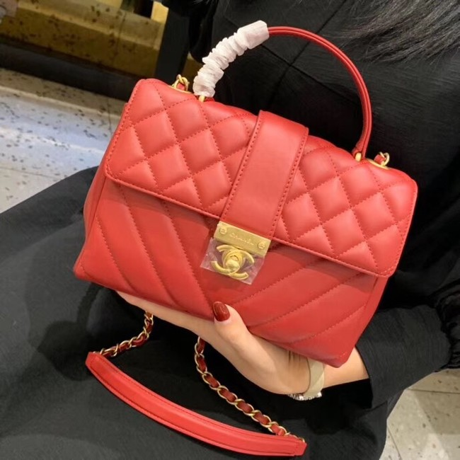 Chanel Calfskin & Gold-Tone Metal AS0804 red
