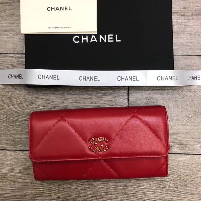 Chanel sheepskin & Gold-Tone Metal Wallet A6871 red