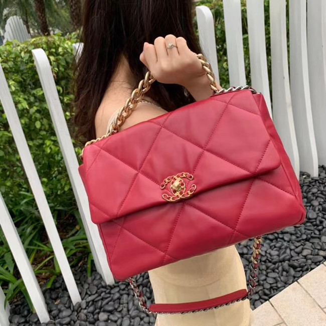 Chanel 19 flap bag AS1161 red