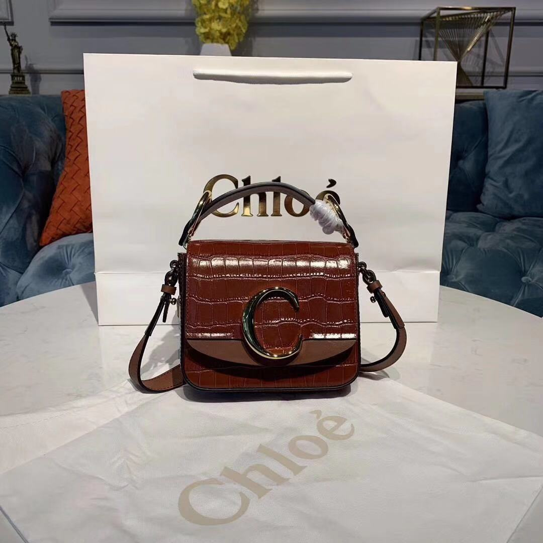Chloe Original Crocodile skin Leather Top Handle Small Bag 3S030 brown
