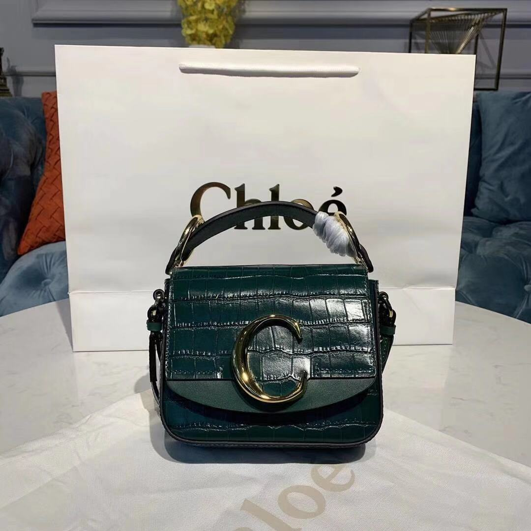 Chloe Original Crocodile skin Leather Top Handle Small Bag 3S030 green