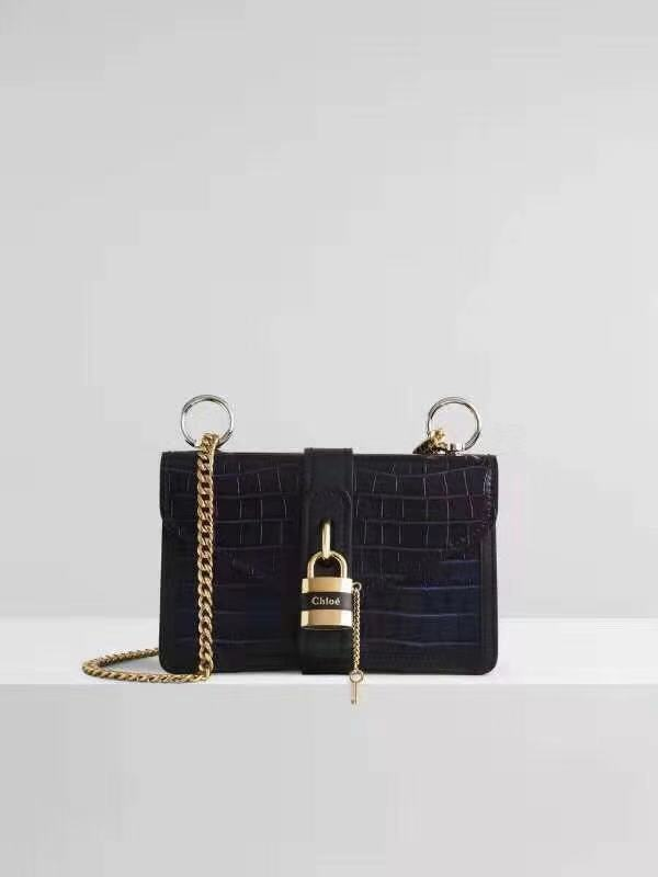 Chloe Original Crocodile skin Leather Bag 3S068 Black